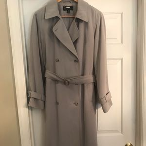 Taupe coat- lined trench coat/raincoat. Size 10.